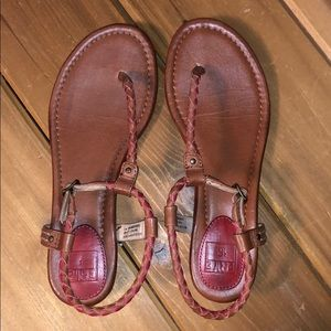 Frye Madison braided sandal - like new red and tan